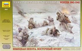 Zvezda German Infantry Eastern Front Winter 1941-42 (4) Plastic Model Military Figure 1/35 #3627