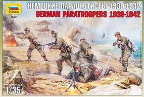 Zvezda German Paratroopers 1939-42 (5) Plastic Model Military Figure 1/35 Scale #3628