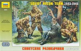 Zvezda Soviet Recon Team 1943-45 (3 w/German Prisoner) Plastic Model Military Figure 1/35 #3643