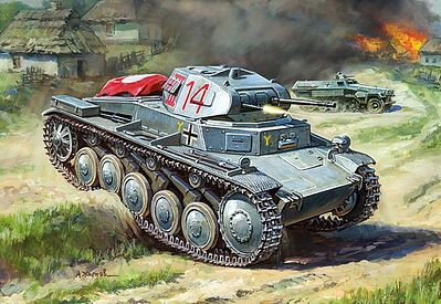 Zvezda German PzKpfw II Light Tank (Snap) -- Plastic Model Tank Kit -- 1/100 Scale -- #6102