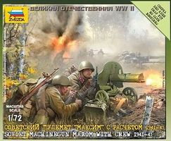 Zvezda Soviet Machine Gun Maxim (2) w/4 Crew 1941-43 Plastic Model Military Figure 1/72 #6104