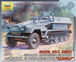 Zvezda Sd.Kfz.251/1 Ausf.B Plastic Model Halftrack Kit 1/100 Scale #6127