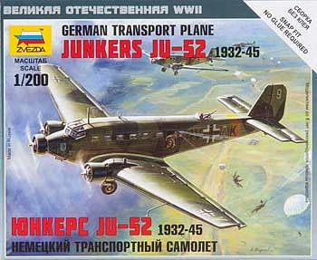 Zvezda Junkers Ju-52 German Transport Plane -- Plastic Model Airplane Kit -- 1/200 Scale -- #6139