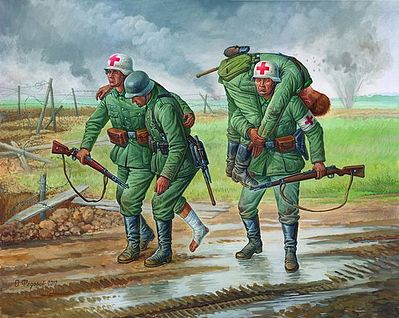 Zvezda German Medical Unit 1941-43 Snap Kit -- Plastic Model Military Figure -- 1/72 Scale -- #6143