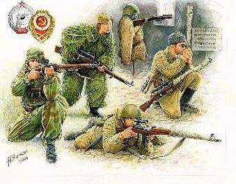 Zvezda WWII Soviet Sniper (4) (Snap) (New Tool) -- 1/72 Scale Plastic Model Military Figure -- #6193