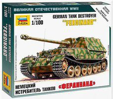 Zvezda SD.KFZ.184 Ferdinand Plastic Model Military Tank Kit 1/100 Scale #6195