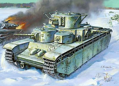 Zvezda Soviet T35 Heavy Tank (Snap) -- Plastic Model Tank Kit -- 1/100 Scale -- #6203