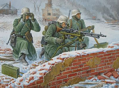 Zvezda German MG w/Crew Winter Uniform (Snap) -- Plastic Model Military Figure -- 1/72 Scale -- #6210