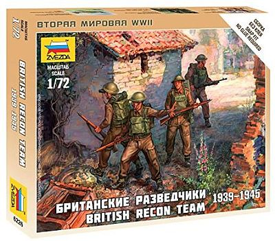 Zvezda British Reconnaissance Team WWII -- Plastic Model Military Figure -- 1/72 Scale -- #6226