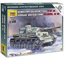 Zvezda Panzer IV Ausf.H 1/100 Scale Plastic Model Military Vehicle #6251