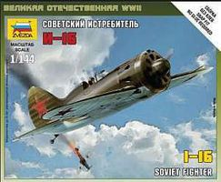 Zvezda Soviet WWII Fighter Polikarpov I-16 Plastic Model Airplane Kit 1/144 Scale #6254