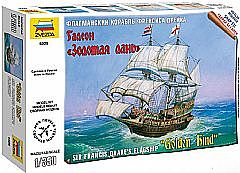 Zvezda English Galleon Golden Hind -- 1/350 Scale Plastic Model Sailing Ship -- #6509