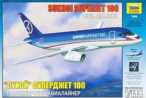 Zvezda Sukhoi Superjet 100 Plastic Model Airplane Kit - 1/144 Scale #7009