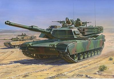 Zvezda M1A1 Abrams US Main Battle Tank -- Plastic Model Tank Kit -- 1/100 Scale -- #7405