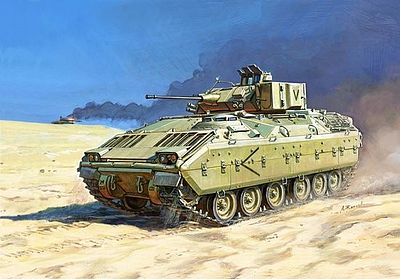 Zvezda M2 Bradley US Infantry Fighting Vehicle -- Plastic Model Tank Kit -- 1/100 Scale -- #7406