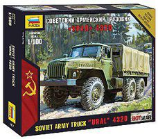 Zvezda Ural 4320 Russian Army Truck 1/100 Scale Plastic Model Military Vehicle #7417