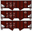 USRA Hopper 3 Set New York Central -- HO Scale Model Train Freight Car Set -- #1227