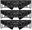 55-Ton Wood-Side 2-Bay Hopper 3-Pack Southern Railway -- HO Scale Model Train Freight Car -- #27114