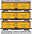 40' Wood Reefer 3-Pack - Kit - Pacific Fruit Express -- HO Scale Model Train Freight Car -- #48474