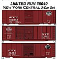 40' Steel Boxcar 3-Car Set - Kit - New York Central -- HO Scale Model Train Freight Car -- #8040
