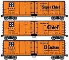40' Steel Reefer ATSF (3) -- HO Scale Model Train Freight Car Set -- #8062