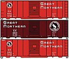 40' Steel Boxcar Great Northern (3) -- HO Scale Model Train Freight Car Set -- #8072