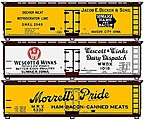 40' Wood Reefer Ltd (Set of 3) -- HO Scale Model Train Freight Car Set -- #8079