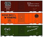 40' Steel Boxcar 3-Pack - Kit -- 1 Each- Genessee & Wyoming, Duluth South Shore& Atlantic, Columbus & Greenvi