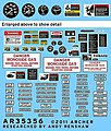 M113 Instruments & Placards -- Plastic Model Vehicle Decal -- 1/35 Scale -- #35356