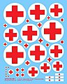 German Ambulance Crosses & Uniform Patches -- Plastic Model Vehicle Decal -- 1/35 Scale -- #35381