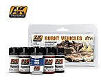 Burnt Vehicles Weathering Pigment Set (39, 48, 142, 143, 144) -- Hobby and Model Paint Set -- #4120