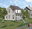 Drinkwater Place (Frame House) Kit -- HO Scale Model Railroad Building -- #184