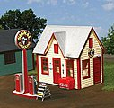 All-American Gas Station Kit -- O Scale Model Railroad Building -- #492