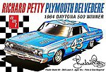 Richard Petty 1964 Plymouth Belvedere -- Plastic Model Car Kit -- 1/25 Scale -- #989-12