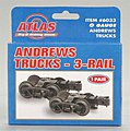 Andrews 3-Rail Trucks - 1 Pair -- O Scale Model Train Truck -- #6033