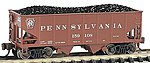 USRA 55T 2-Bay Hopper PRR Tuscan Red -- N Scale Model Train Freight Car -- #19551