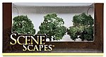 3''-3-1/2'' Oak Trees (3/pk) -- Model Railroad Scenery -- #32013