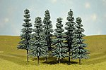 8-10 Inch Blue Spruce Trees (3) -- O Scale Model Railroad Scenery -- #32212