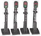 Block Signals (4) -- HO Scale Model Railroad Trackside Accessory -- #42101