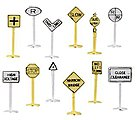 Railroad & Street Signs (24) -- N Scale Model Railroad Trackside Accessory -- #42513