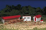 Farm Buildings w/Animals Snap Kit -- HO Scale Model Railroad Building -- #45152