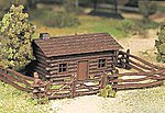 Log Cabin w/Fence Snap Kit -- O Scale Model Railroad Building -- #45982