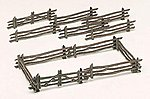 Rustic Fence Kit (12) -- O Scale Model Railroad Trackside Accessory -- #45984