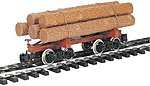 Skeleton Log Car w/Logs -- G Scale Model Train Freight Car -- #98490