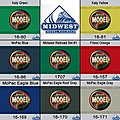 Modelflex Midwest Railroad Colors Paint Set #1 -- Model Airbrush Paint Set -- #1707