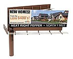 Modern Dual-Sided Billboard -- HO Scale Model Railroad Billboard Sign -- #4320