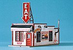 Eat & Business District Billboard -- HO Scale Model Railroad Roadway Accessory -- #1532