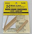 Wood Grade Crossing (2) -- N Scale Model Railroad Trackside Accessory -- #065