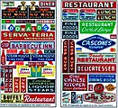 Restaurant & Cafe Storefront Signs (2) -- HO Scale Model Railroad Billboard Sign -- #136