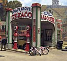 Gas Station at Shady Grove - Laser-Cut Wood Kit -- HO Scale Model Railroad Building -- #552